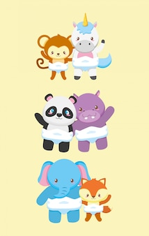 Coleção de animais para cartão de chuveiro de bebê