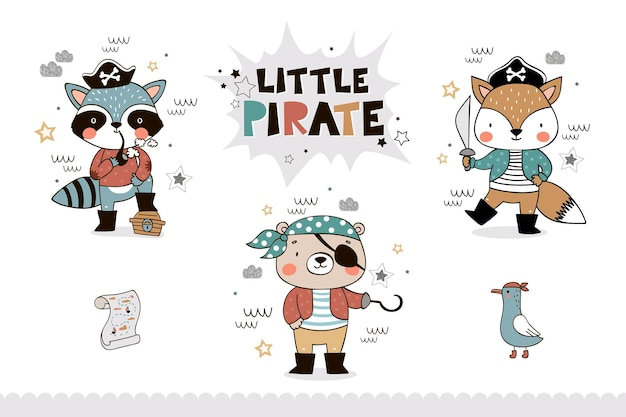 Coleção de animais pequenos piratas para crianças