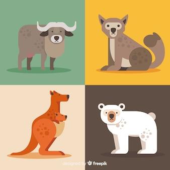 Coleção de animais selvagens de bonito dos desenhos animados