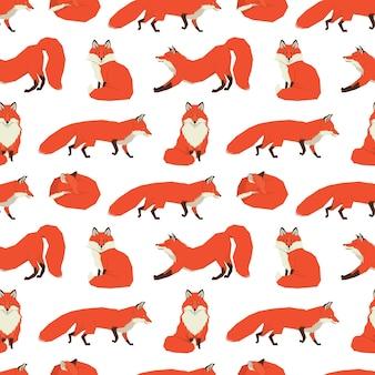 Coleção de animais selvagens fundo das raposas vermelhas