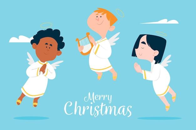 Coleção de anjo de natal de design plano