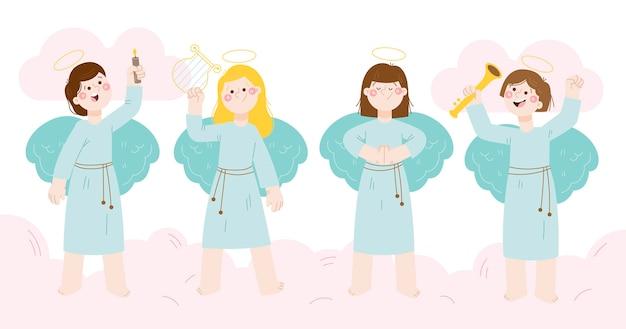 Coleção de anjo de natal desenhada à mão