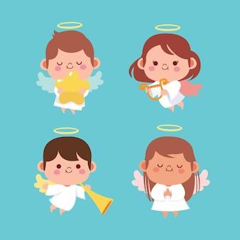 Coleção de anjo de natal design plano