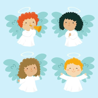 Coleção de anjo de natal em design plano
