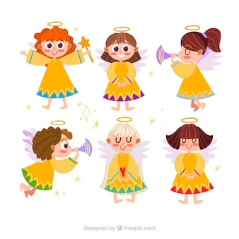 Coleção de anjo de natal em vestes amarelas