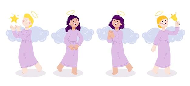 Coleção de anjos de natal desenhada à mão