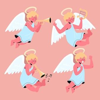 Coleção de anjos de natal em design plano