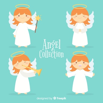 Coleção de anjos de natal planas