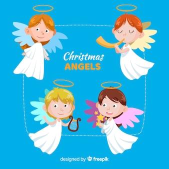 Coleção de anjos engraçados de natal