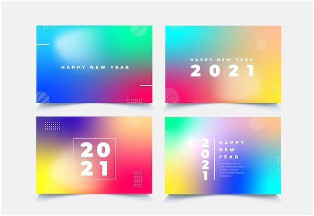 Coleção de ano novo de 2021 com fundo colorido