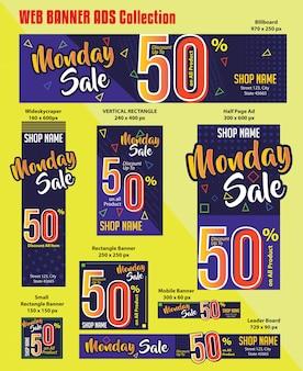 Coleção de anúncios de banner da web de venda de segunda-feira