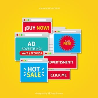 Coleção de anúncios pop-up irritante