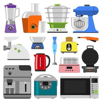 Coleção de aparelhos de cozinha