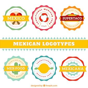 Coleção de apartamento logotipo restaurante mexicano bonito