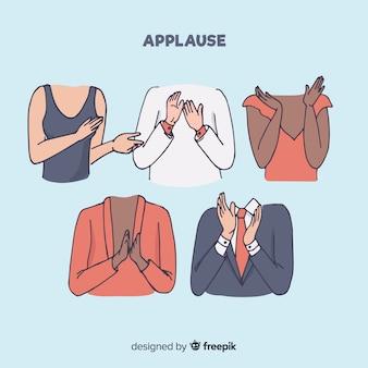 Coleção de aplausos de mão desenhada