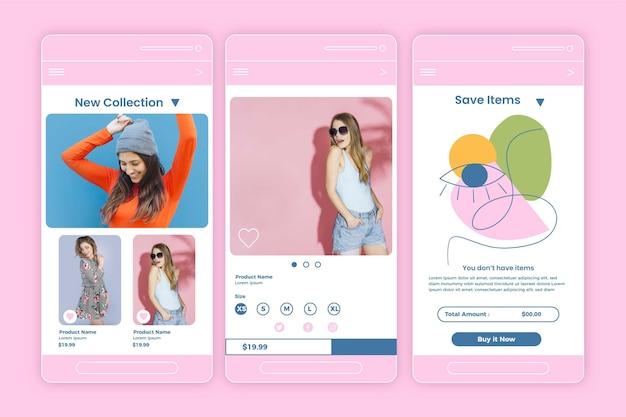 Coleção de aplicativos de compras de moda
