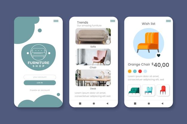 Coleção de aplicativos de compras de móveis