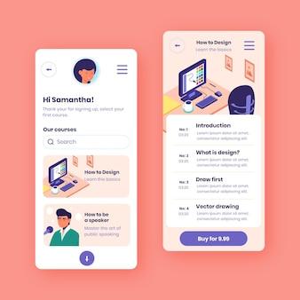 Coleção de aplicativos de curso de design plano