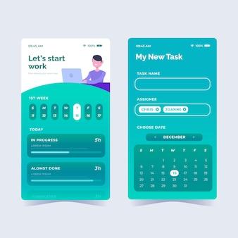 Coleção de aplicativos de gerenciamento de tarefas de design plano