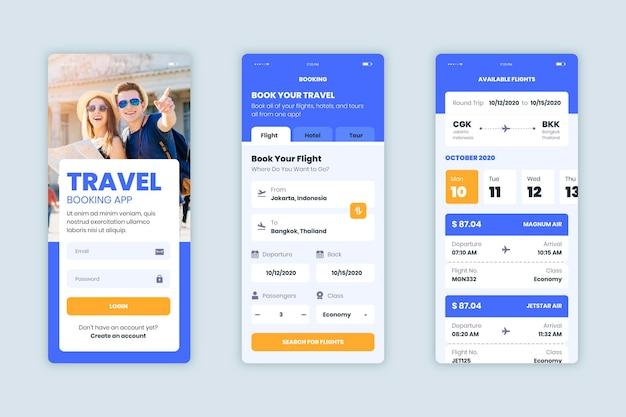 Coleção de aplicativos de reservas de viagens
