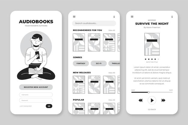 Coleção de aplicativos incolores desenhados à mão para smartphone