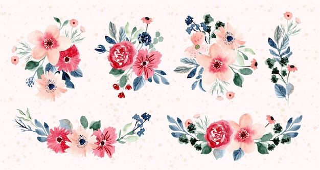 Coleção de aquarela de arranjo de flores bonitas