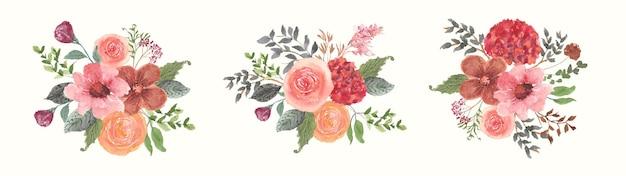 Coleção de aquarela de arranjo de flores de primavera