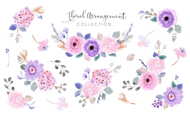 Coleção de aquarela de arranjo floral rosa roxo suave