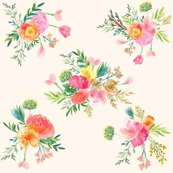 Coleção de aquarela de arranjos de flores bonitas