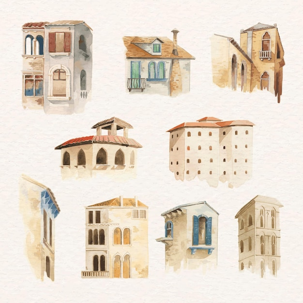 Coleção de aquarela de edifício arquitetônico europeu antigo