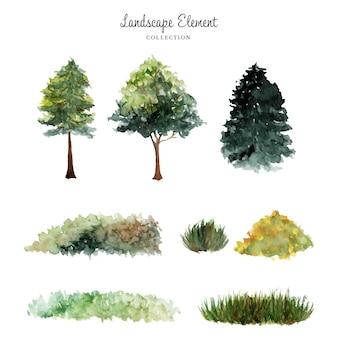 Coleção de aquarela de elementos de paisagem