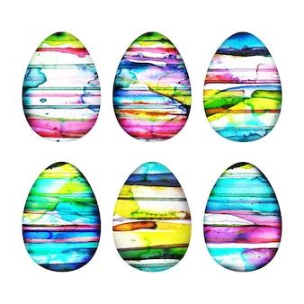 Coleção de aquarela de ovo de dia de páscoa