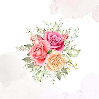 Coleção de aquarela de quadro de buquê de flores