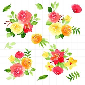 Coleção de aquarela linda flor buquê