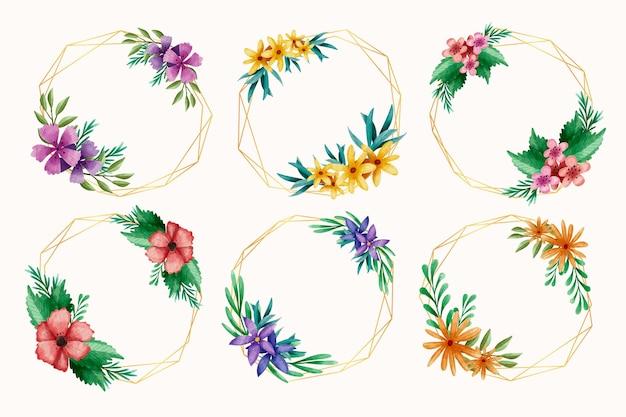 Coleção de aquarela moldura floral