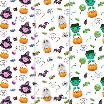 Coleção de aquarela padrão de halloween