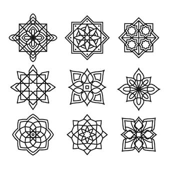Coleção de arabescos ornamentais em preto e branco