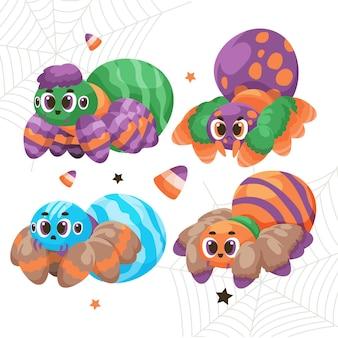 Coleção de aranhas de halloween desenhada à mão