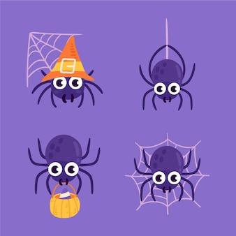 Coleção de aranhas planas de halloween desenhada à mão
