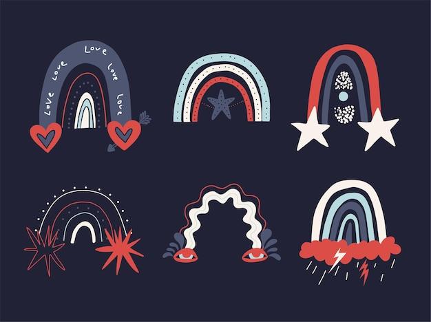 Coleção de arco-íris variados isolados. conjunto desenhado à mão de formas abstratas do arco-íris em tendências de estilo.