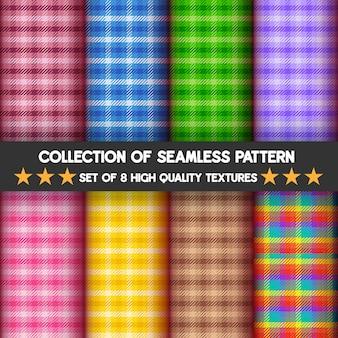 Coleção de argyle sem costura e padrões de xadrez em muitas cores de fundo.