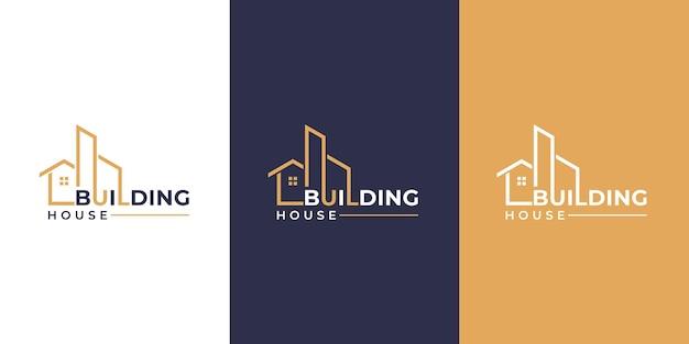 Coleção de arquitetura de construção define design de logotipo de imóveis