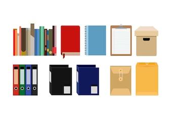 Coleção de arquivos de material de escritório