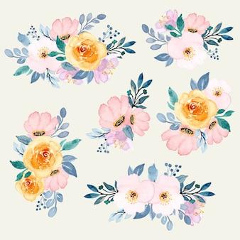 Coleção de arranjo de aquarela floral