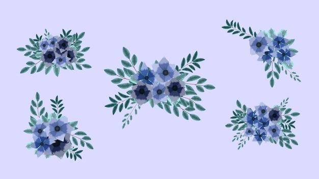 Coleção de arranjo de buquê floral flores de jardim elegantes e elegantes