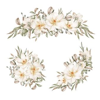Coleção de arranjo de flores em aquarela de magnólia branca
