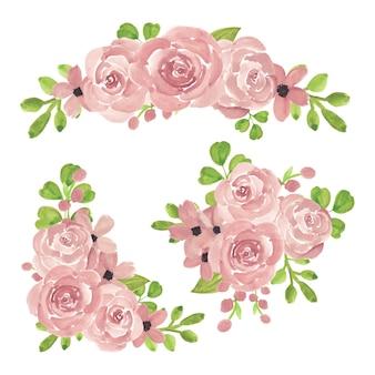 Coleção de arranjo de flores em aquarela rosa