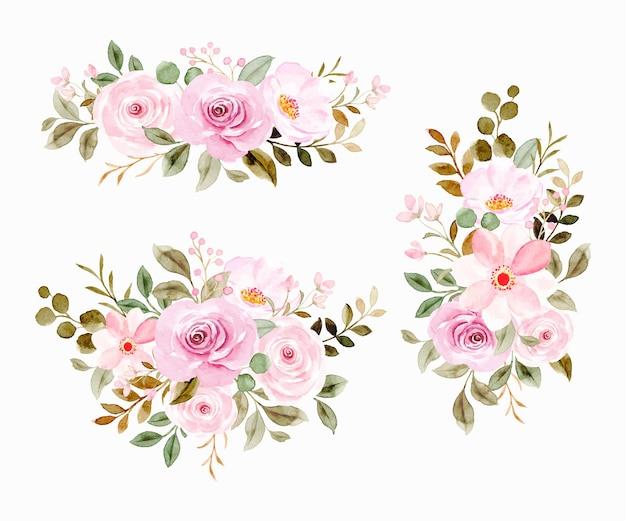 Coleção de arranjo de flores em aquarela