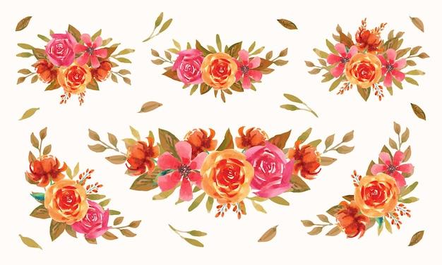 Coleção de arranjo em aquarela de jardim de flores de outono
