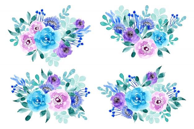 Coleção de arranjo floral em aquarela